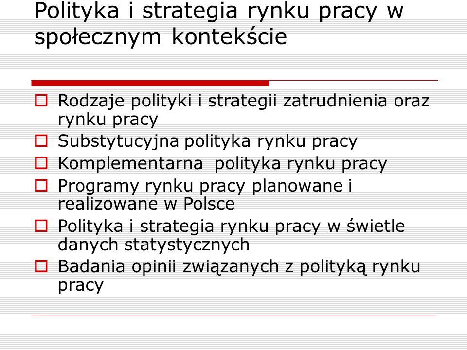 Polityka i strategia rynku pracy w społecznym kontekście