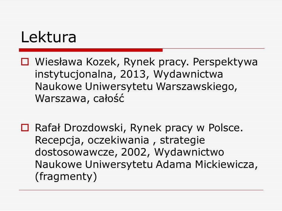 Lektura Wiesława Kozek, Rynek pracy. Perspektywa instytucjonalna, 2013, Wydawnictwa Naukowe Uniwersytetu Warszawskiego, Warszawa, całość.