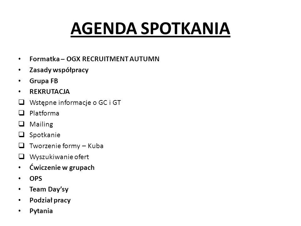 AGENDA SPOTKANIA Formatka – OGX RECRUITMENT AUTUMN Zasady współpracy