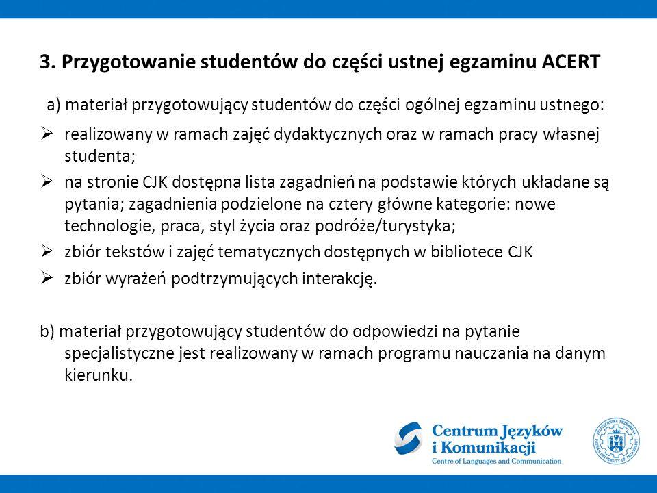 3. Przygotowanie studentów do części ustnej egzaminu ACERT