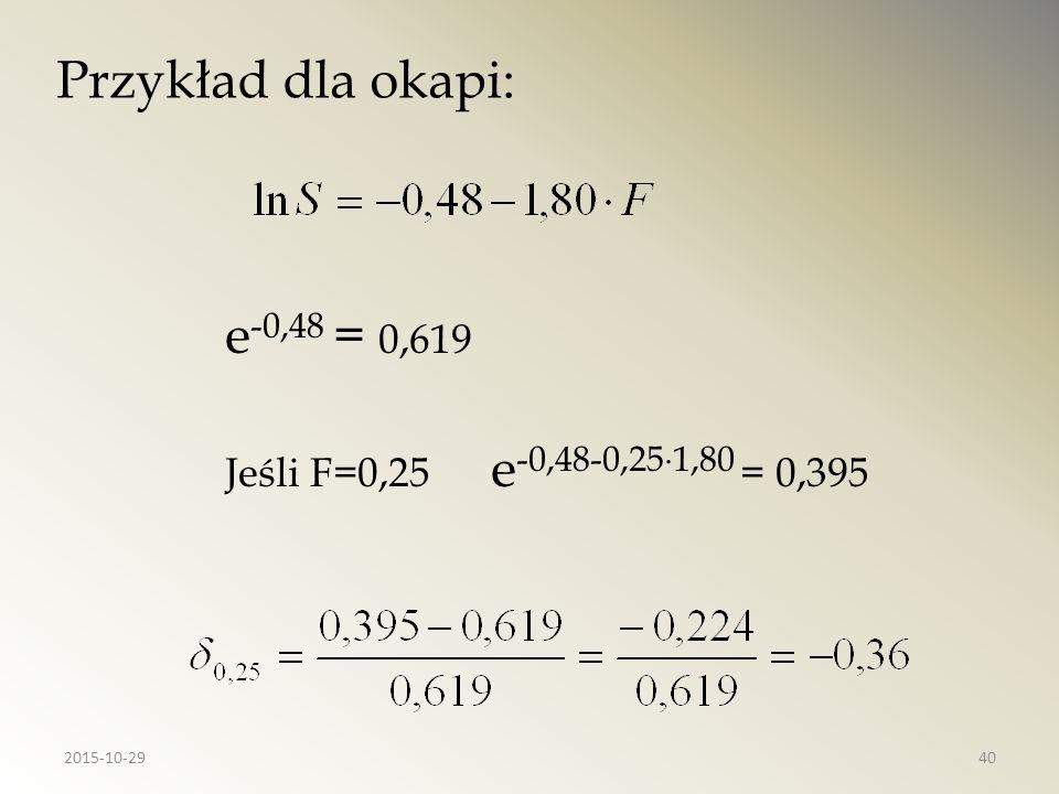 Przykład dla okapi: e-0,48 = 0,619