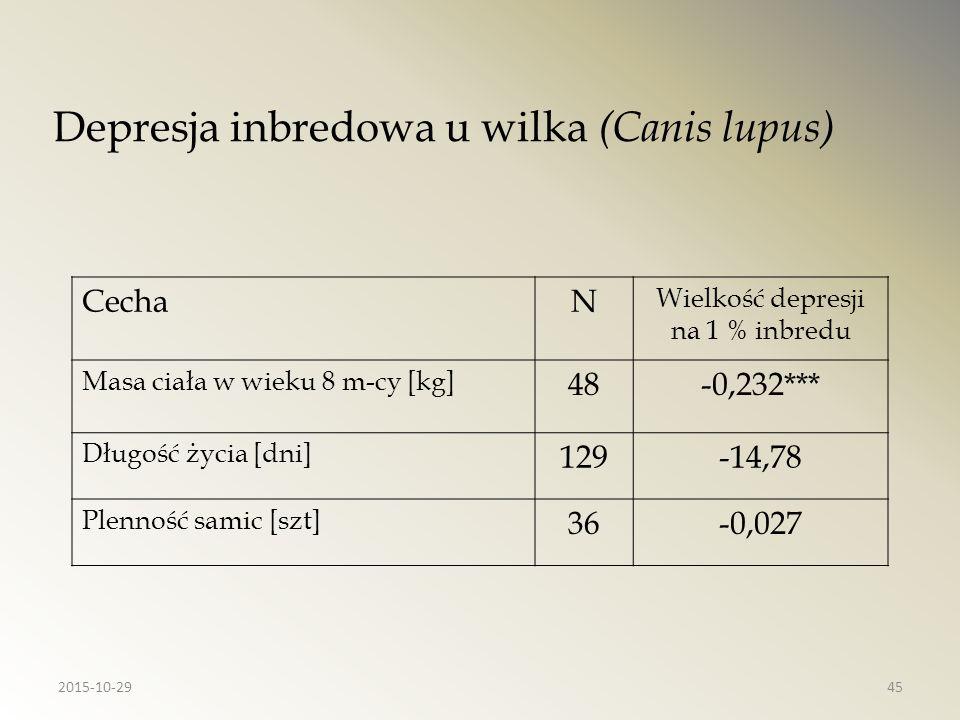 Depresja inbredowa u wilka (Canis lupus)