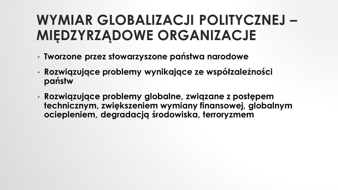 Wymiar globalizacji politycznej – międzyrządowe organizacje
