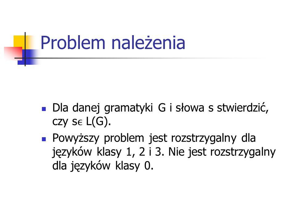 Problem należenia Dla danej gramatyki G i słowa s stwierdzić, czy sϵ L(G).