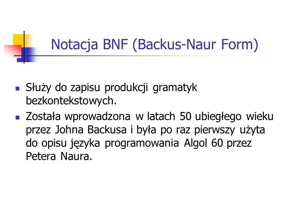 Notacja BNF (Backus-Naur Form)