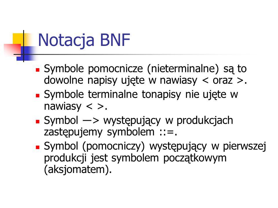 Notacja BNF Symbole pomocnicze (nieterminalne) są to dowolne napisy ujęte w nawiasy < oraz >. Symbole terminalne tonapisy nie ujęte w nawiasy < >.