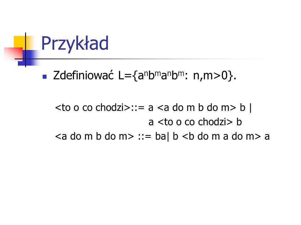 Przykład Zdefiniować L={anbmanbm: n,m>0}.