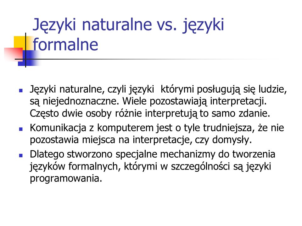 Języki naturalne vs. języki formalne