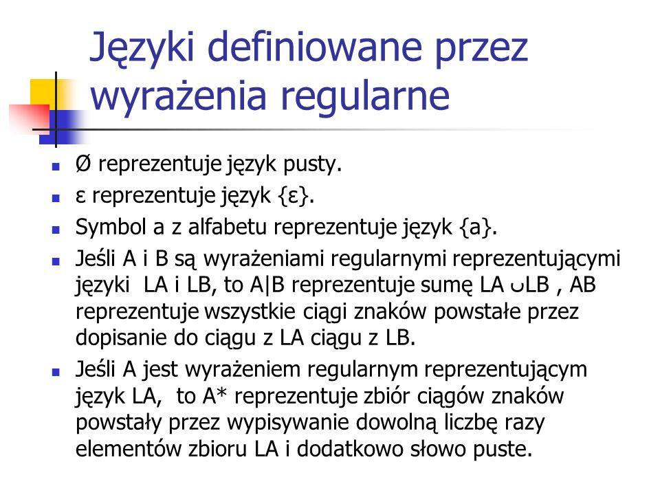 Języki definiowane przez wyrażenia regularne