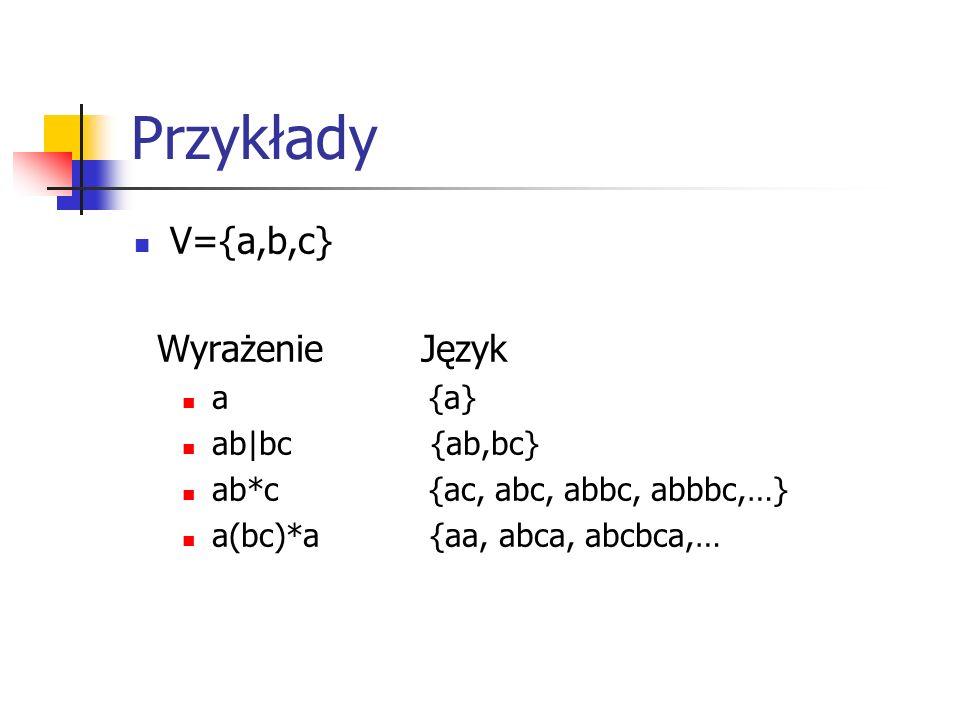 Przykłady V={a,b,c} Wyrażenie Język a {a} ab|bc {ab,bc}