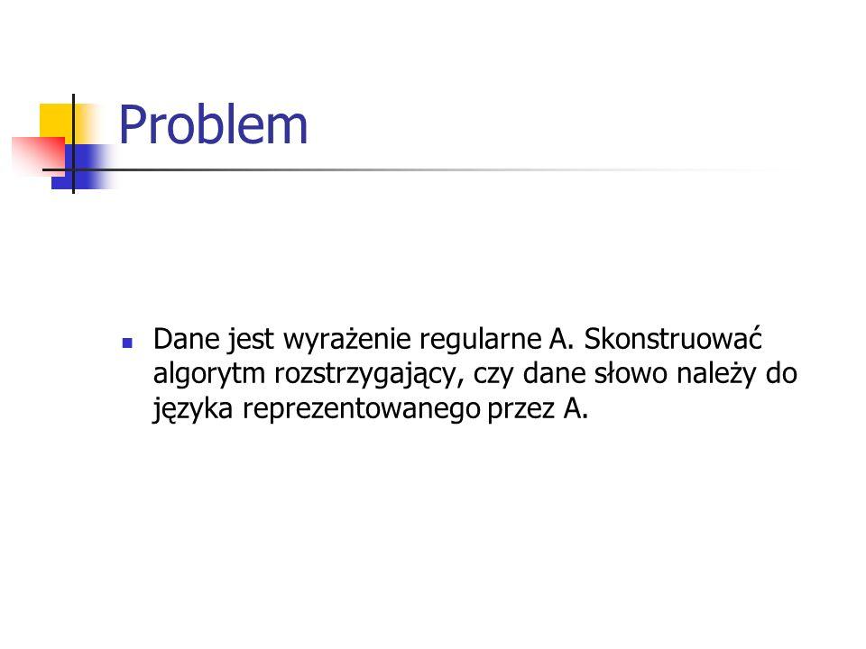 Problem Dane jest wyrażenie regularne A.