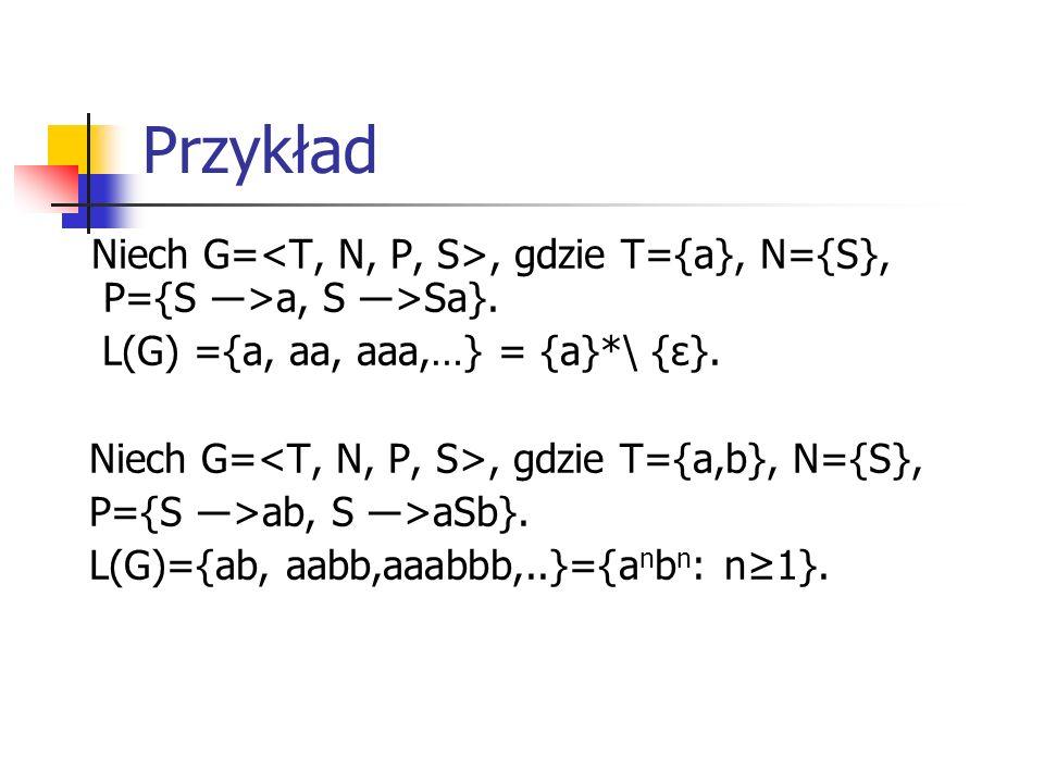 Przykład L(G) ={a, aa, aaa,…} = {a}*\ {ε}.