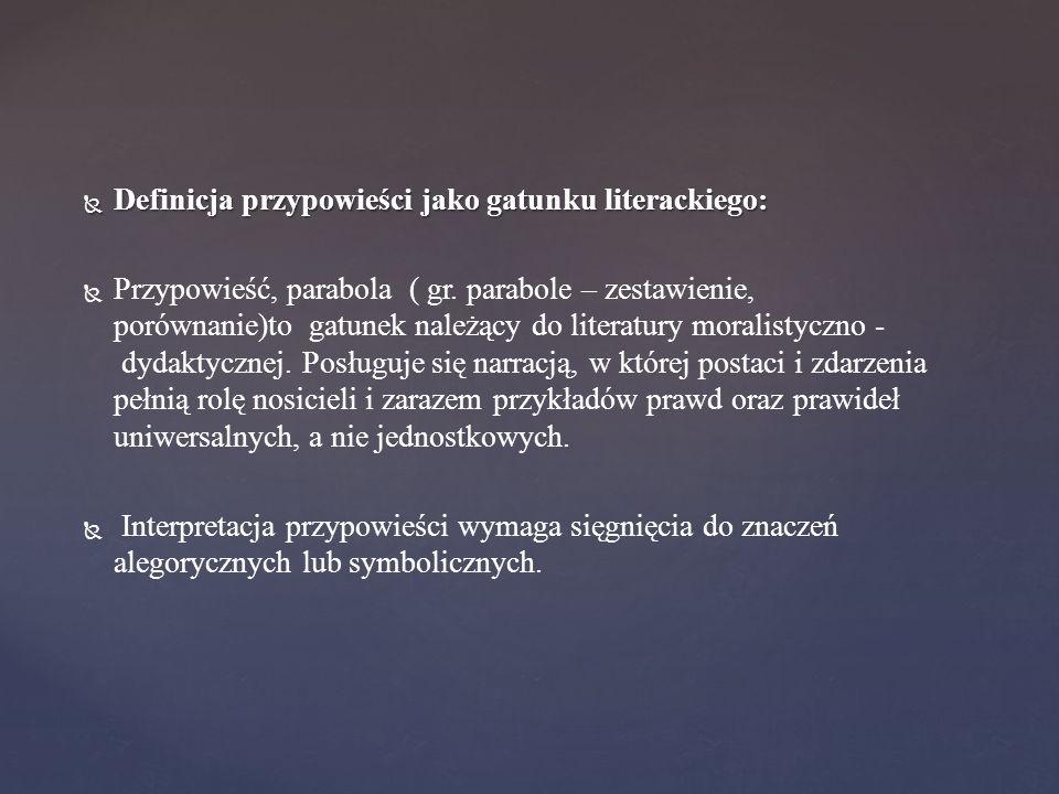 Definicja przypowieści jako gatunku literackiego: