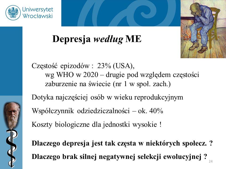 Depresja według ME Częstość epizodów : 23% (USA), wg WHO w 2020 – drugie pod względem częstości zaburzenie na świecie (nr 1 w społ. zach.)