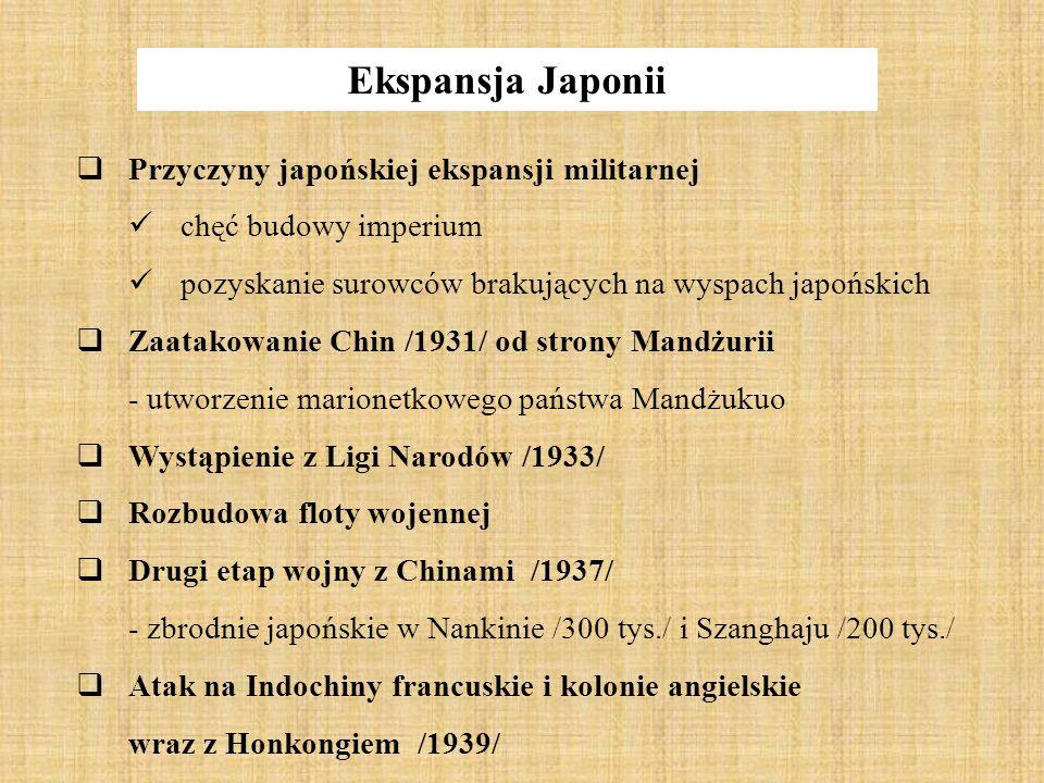 Ekspansja Japonii Przyczyny japońskiej ekspansji militarnej