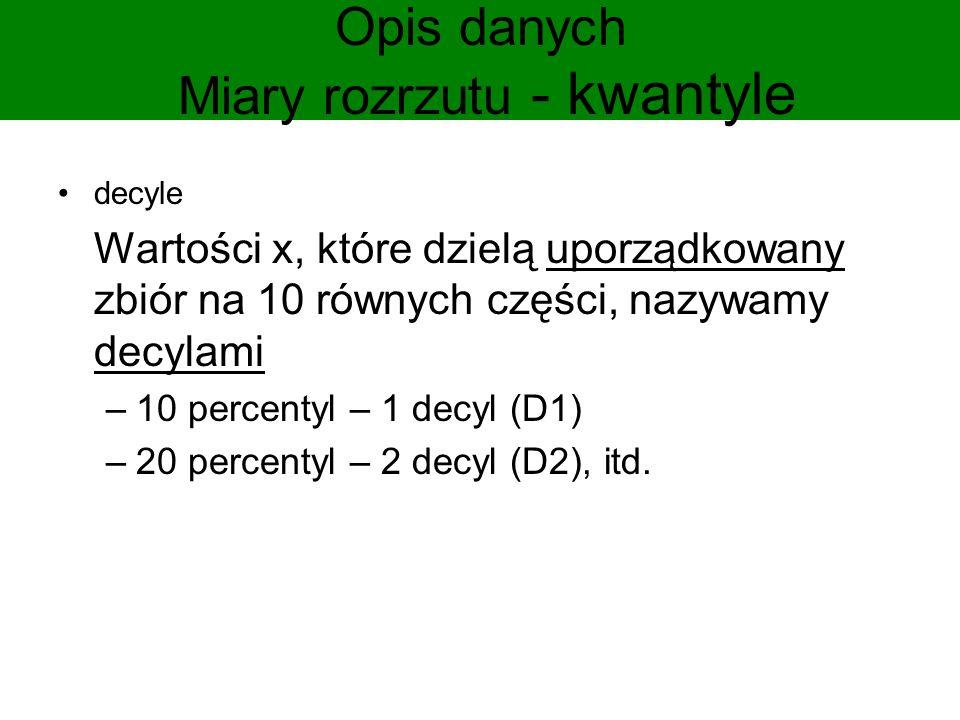 Opis danych Miary rozrzutu - kwantyle