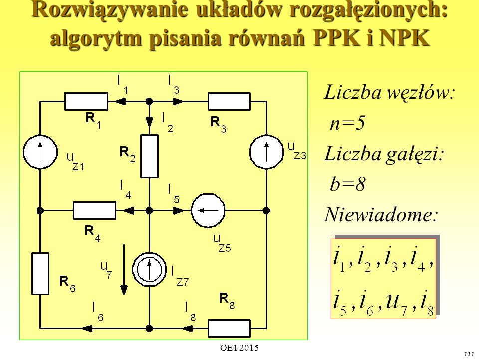 Rozwiązywanie układów rozgałęzionych: algorytm pisania równań PPK i NPK