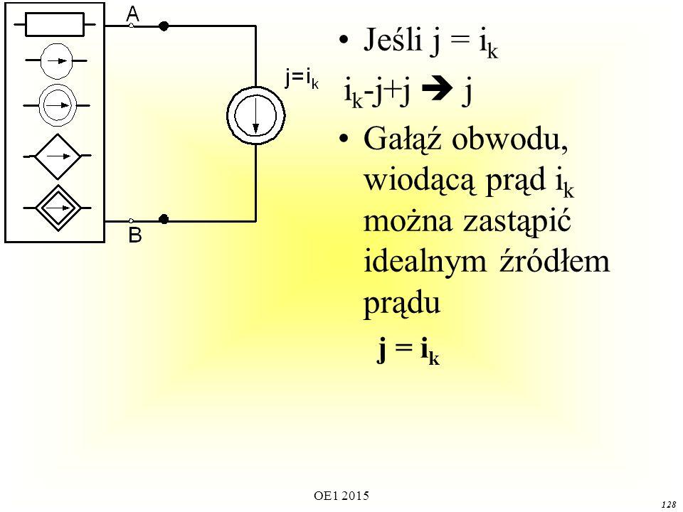Gałąź obwodu, wiodącą prąd ik można zastąpić idealnym źródłem prądu