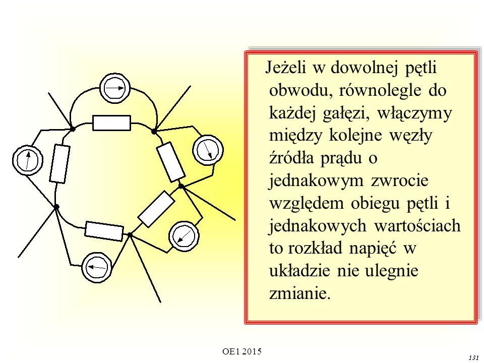 Jeżeli w dowolnej pętli obwodu, równolegle do każdej gałęzi, włączymy między kolejne węzły źródła prądu o jednakowym zwrocie względem obiegu pętli i jednakowych wartościach to rozkład napięć w układzie nie ulegnie zmianie.