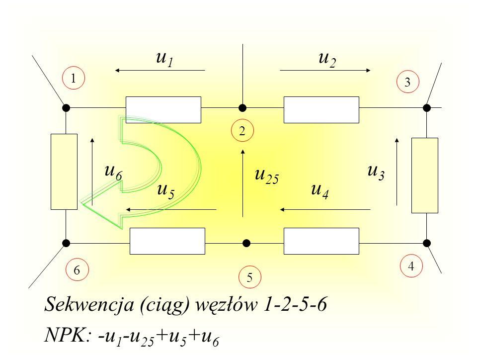 Sekwencja (ciąg) węzłów 1-2-5-6 NPK: -u1-u25+u5+u6