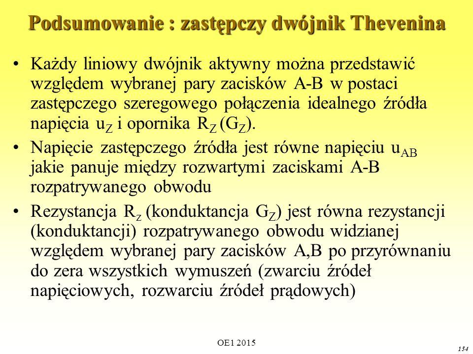 Podsumowanie : zastępczy dwójnik Thevenina