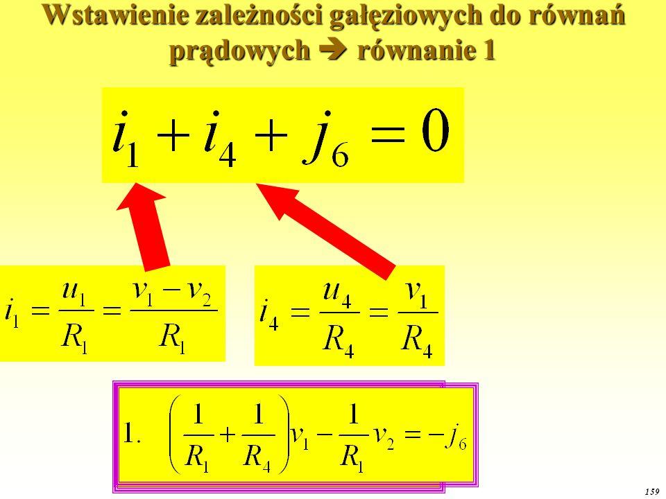 Wstawienie zależności gałęziowych do równań prądowych  równanie 1
