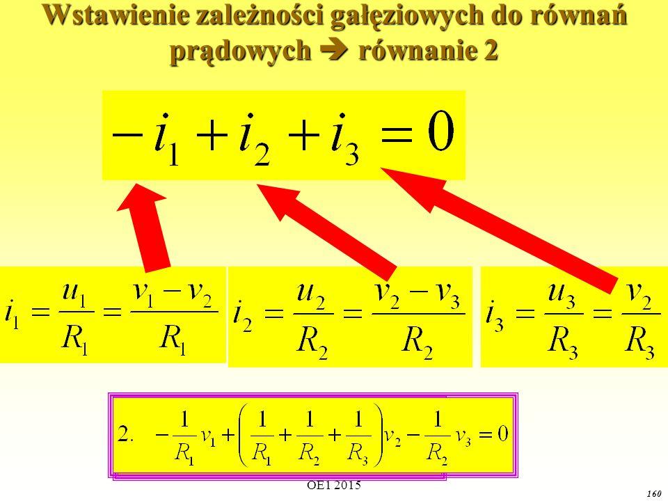 Wstawienie zależności gałęziowych do równań prądowych  równanie 2