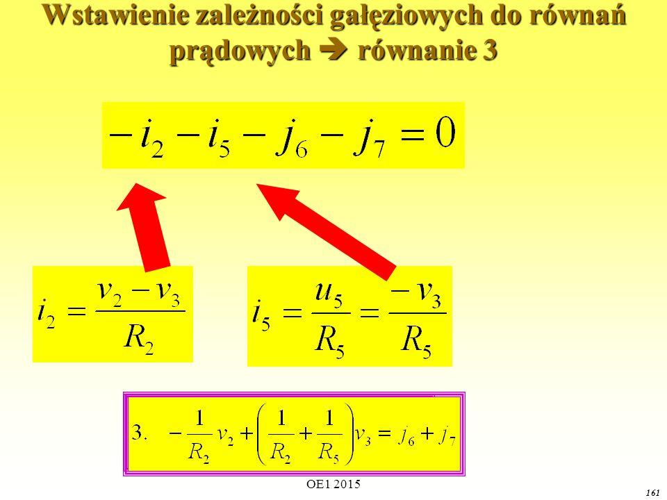 Wstawienie zależności gałęziowych do równań prądowych  równanie 3