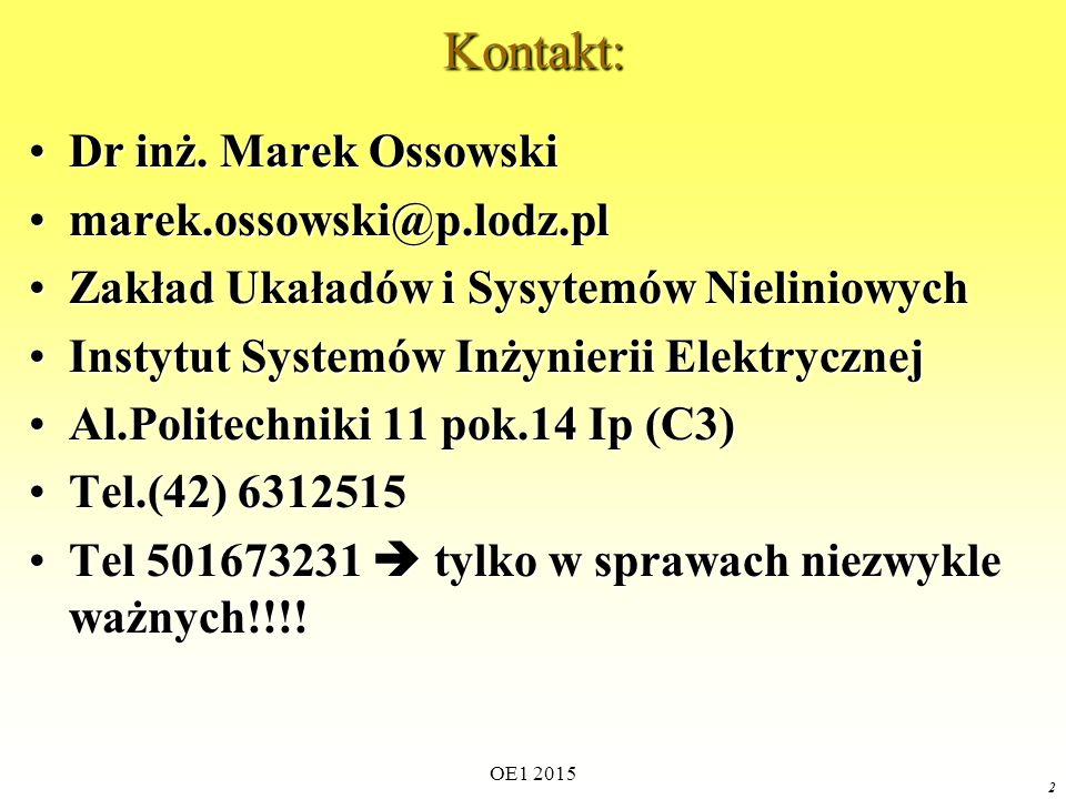 Kontakt: Dr inż. Marek Ossowski marek.ossowski@p.lodz.pl