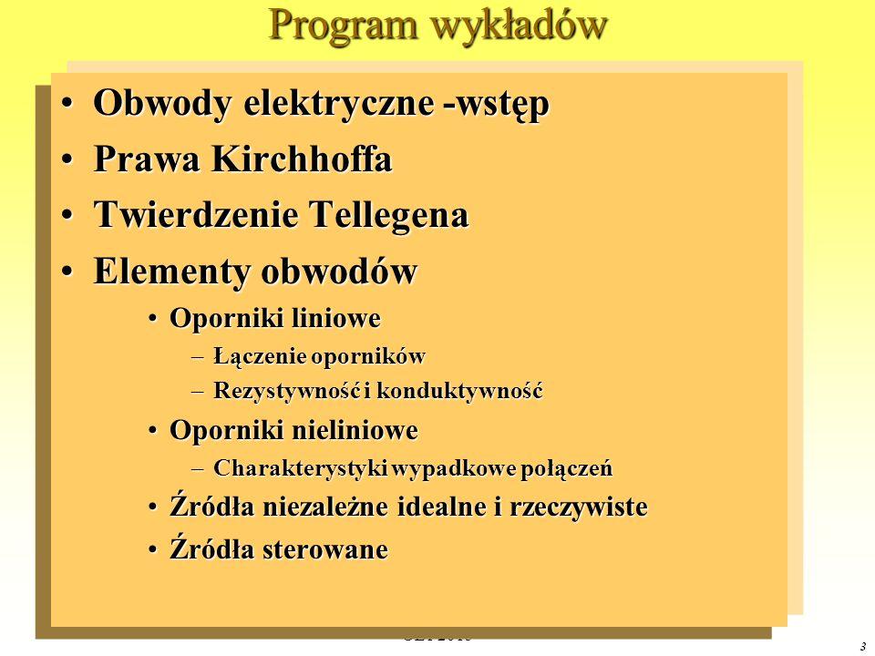 Program wykładów Obwody elektryczne -wstęp Prawa Kirchhoffa