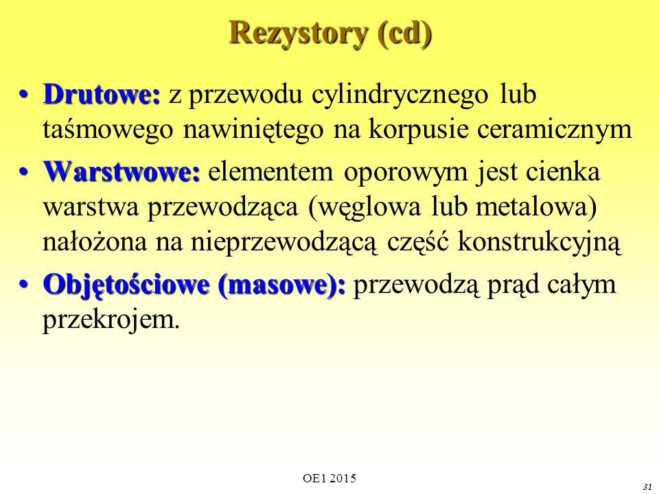 Rezystory (cd) Drutowe: z przewodu cylindrycznego lub taśmowego nawiniętego na korpusie ceramicznym.