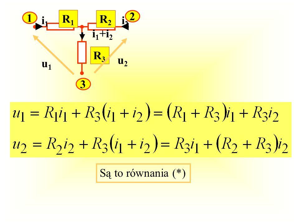 R1 R2 R3 1 2 3 u1 u2 i1 i2 i1+i2 Są to równania (*)