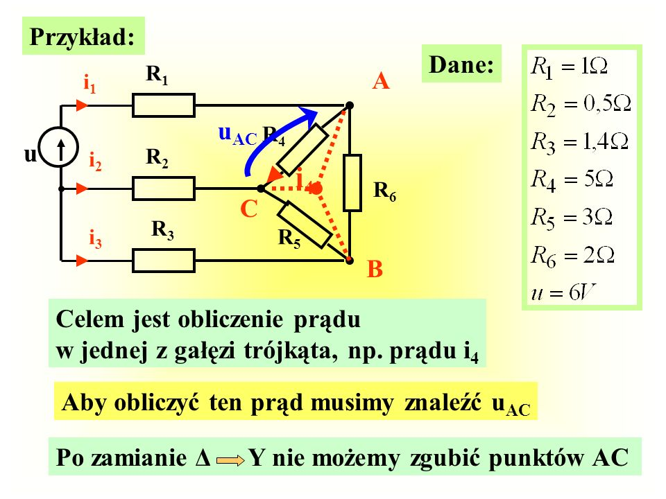 i4 Przykład: Dane: A uAC u C B Celem jest obliczenie prądu