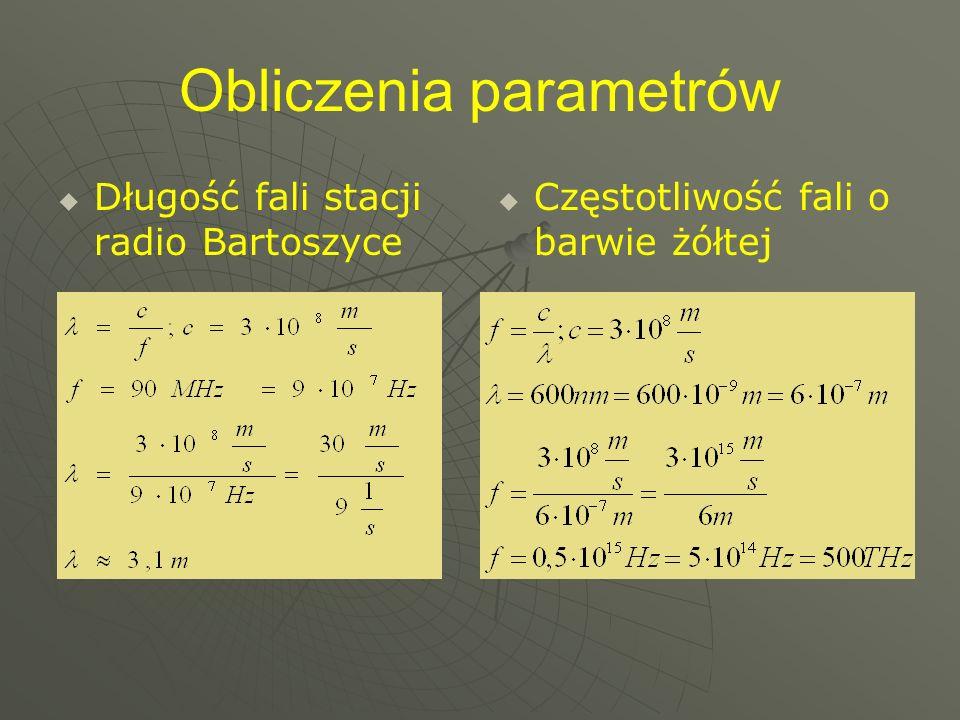 Obliczenia parametrów