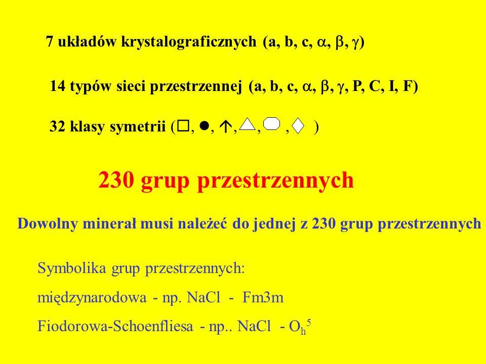 7 układów krystalograficznych (a, b, c, , , )