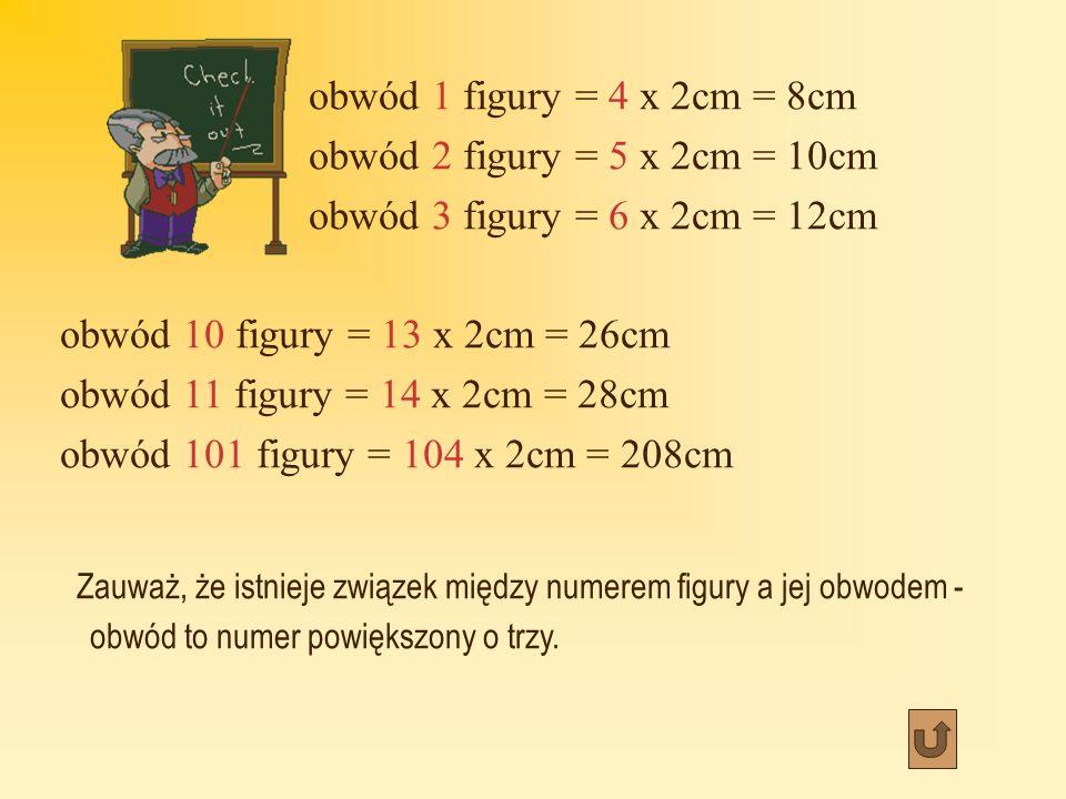 obwód 1 figury = 4 x 2cm = 8cm obwód 2 figury = 5 x 2cm = 10cm. obwód 3 figury = 6 x 2cm = 12cm. obwód 10 figury = 13 x 2cm = 26cm.