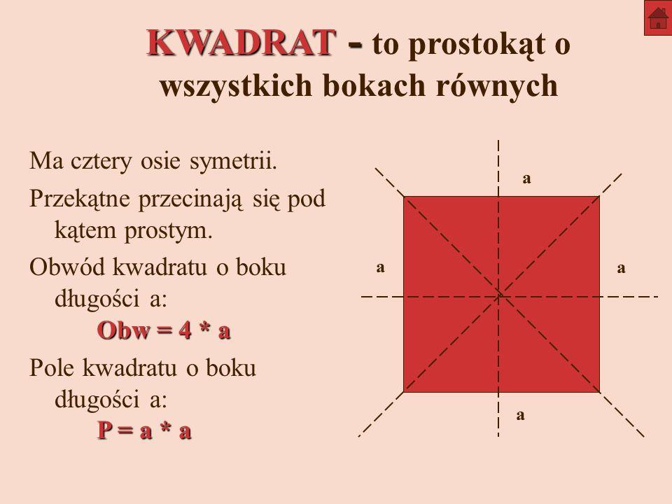KWADRAT - to prostokąt o wszystkich bokach równych