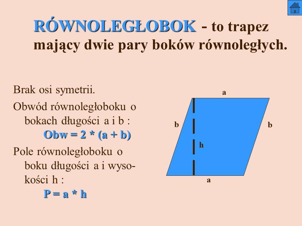 RÓWNOLEGŁOBOK - to trapez mający dwie pary boków równoległych.