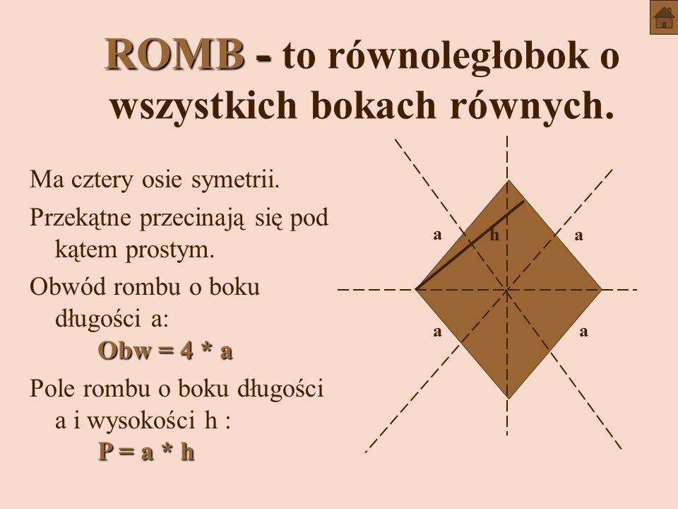 ROMB - to równoległobok o wszystkich bokach równych.