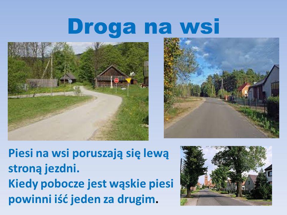 Droga na wsi Piesi na wsi poruszają się lewą stroną jezdni.