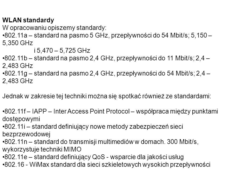 WLAN standardy W opracowaniu opiszemy standardy: 802.11a – standard na pasmo 5 GHz, przepływności do 54 Mbit/s; 5,150 – 5,350 GHz.