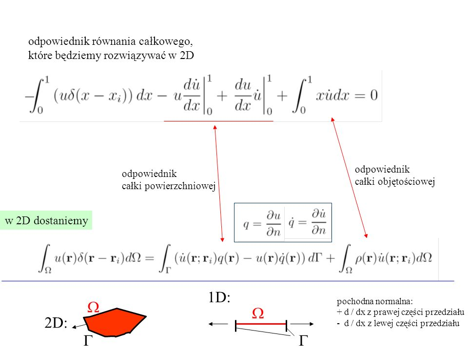 1D: W W 2D: G G odpowiednik równania całkowego,