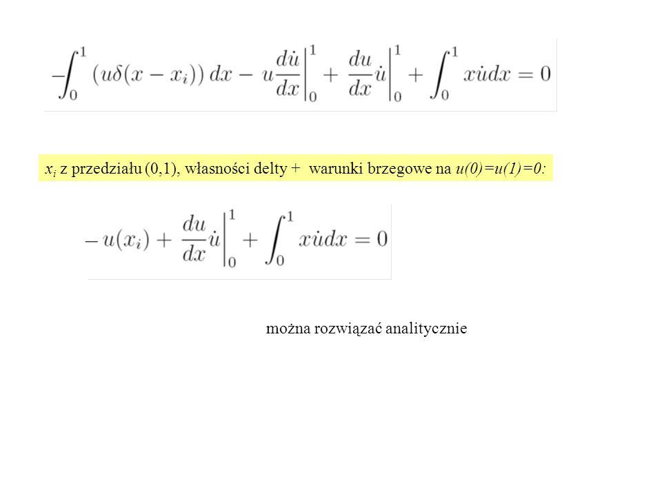 xi z przedziału (0,1), własności delty + warunki brzegowe na u(0)=u(1)=0: