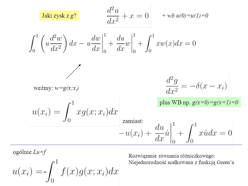 - Jaki zysk z g + wb u(0)=u(1)=0 weźmy: w=g(x;xi)