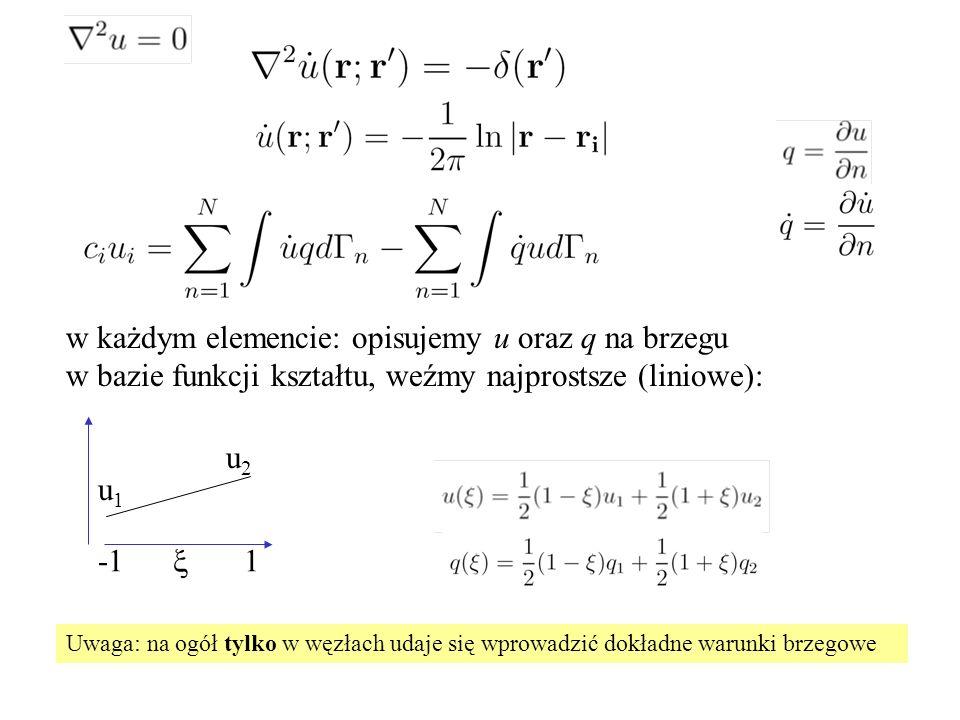 w każdym elemencie: opisujemy u oraz q na brzegu