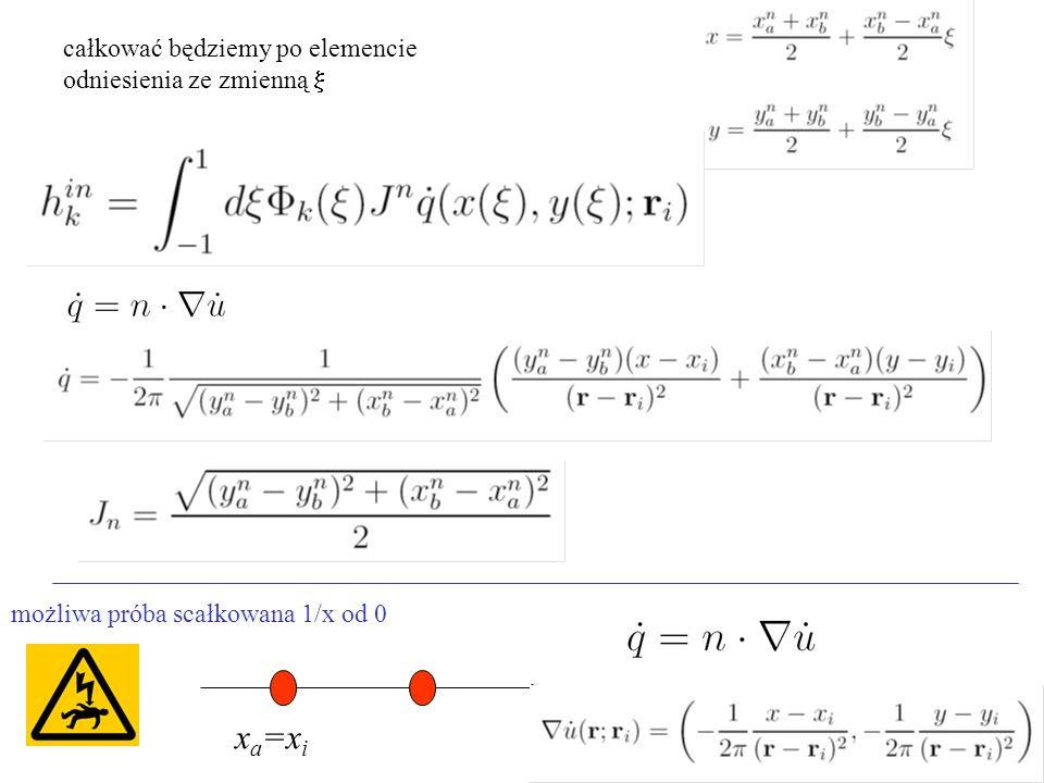 xa=xi całkować będziemy po elemencie odniesienia ze zmienną x
