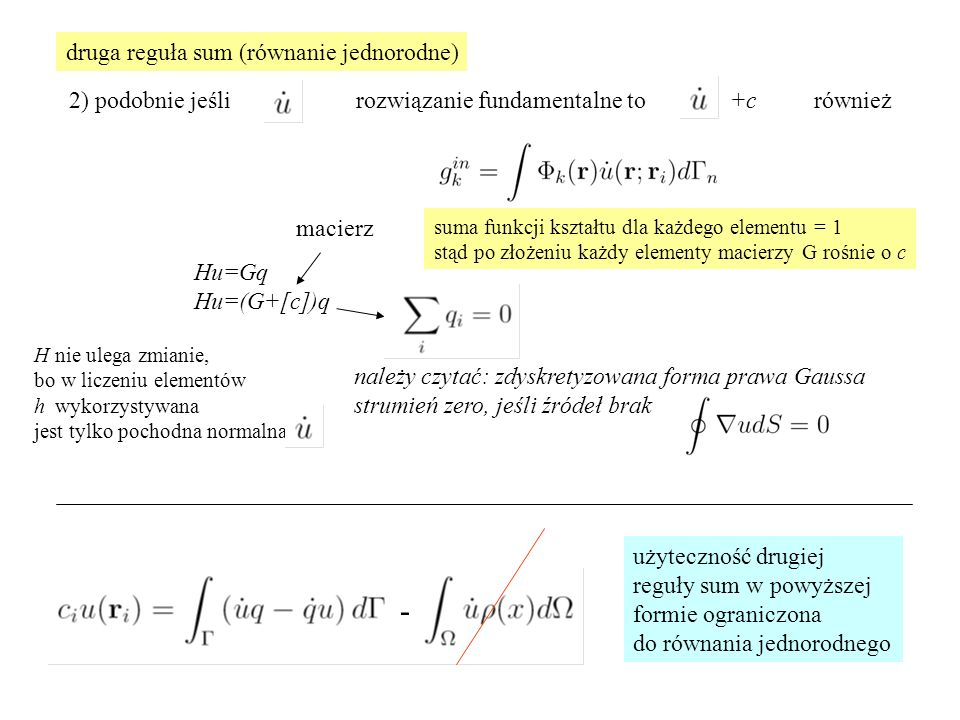 - druga reguła sum (równanie jednorodne)