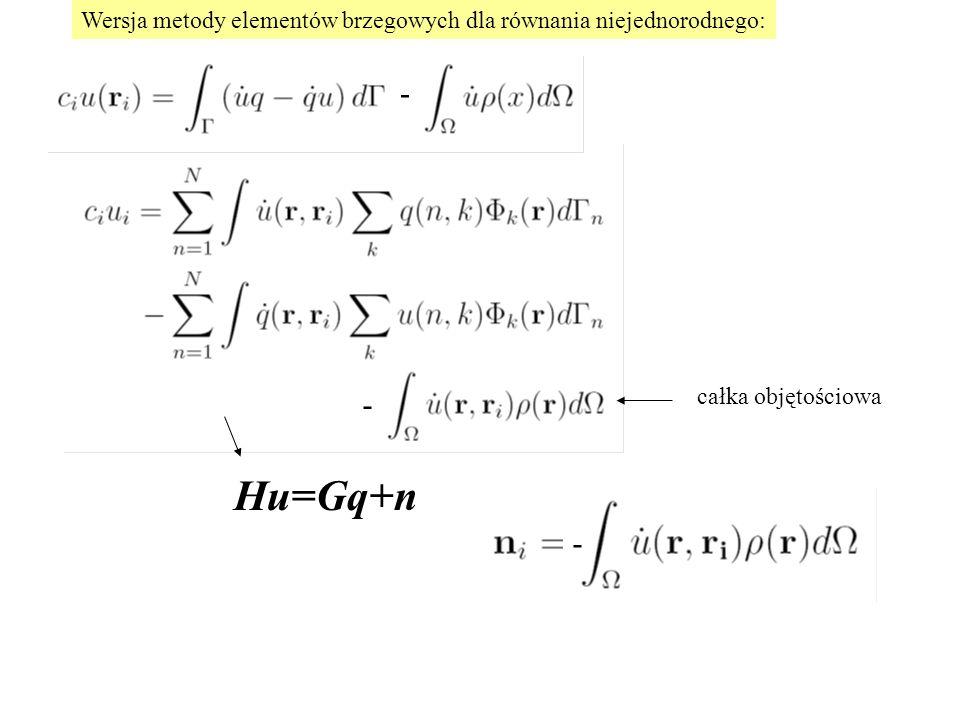Wersja metody elementów brzegowych dla równania niejednorodnego:
