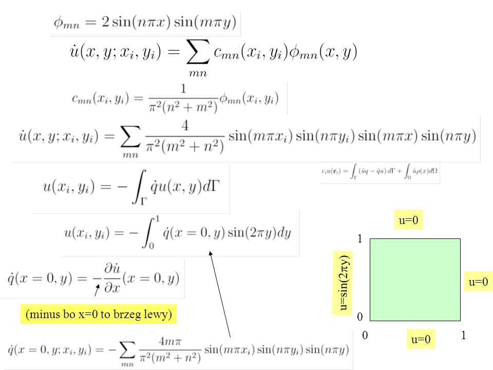 u=0 1 u=sin(2py) u=0 (minus bo x=0 to brzeg lewy) 0 1 u=0