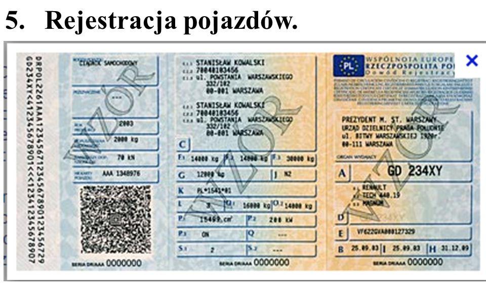 5. Rejestracja pojazdów.